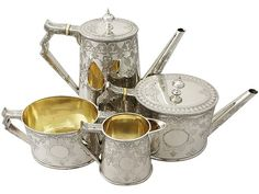 Sterling Silver Four Piece Tea and Coffee Service - Antique Victorian  SKU: A4015 Price  GBP £3,750.00  http://www.acsilver.co.uk/shop/pc/Sterling-Silver-Four-Piece-Tea-and-Coffee-Service-Antique-Victorian-67p7980.htm