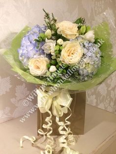 Blue Hydrangea and White Rose - beautiful luxury flower bouquet with NO lil