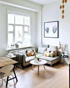 Small living room with dining area set up - tips from fre .- Kleines Wohnzimmer mit Essbereich einrichten – Tipps der Freshideen-Redaktion small living room with dining area set up scandi style - Tiny Living Rooms, Small Living Room Design, Living Room Images, Small Apartment Living, Small Space Design, Small Space Living, Cozy Living, Living Room Interior, Home Decor Bedroom