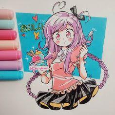 ✨ Oishii ✨ Dibujin mañanero _(:'3_ El helado de Michan es un helado flotante, se llama así por el simple hecho de que abajo del helado hay un líquido, este puede variar, por lo general es como una gaseosa de un color fuerte en el fondo y casi transparente en la parte de arriba. Y los materiales usados como siempre son: copic marker ciao, tiralineas 01 pentel, hoja de un cuaderno raro.... no sé, yo lo compré pensando que era una croqueta pero resultó ser un álbum para fotos, pero igual fu...