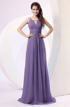 0b7f1587ba1 Lilac Evening Dress - Plain Column Scoop Zipper Chiffon Ruching Grey  Bridesmaid Dresses