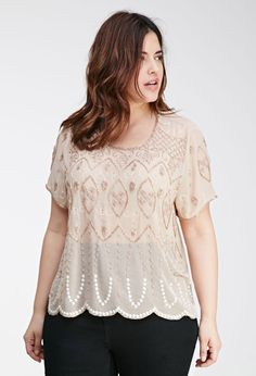 Bead-Embroidered Chiffon Top | Forever 21 PLUS - 2000136820