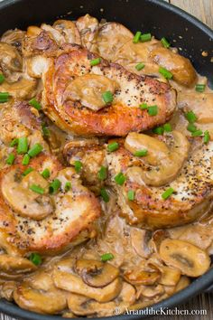 Pork Chops with Brandy Mushroom Sauce combines tender, juicy pork chops and a savoury mushroom cream sauce with a splash of brandy!