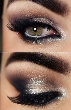 GORGEOUS silver & black eyeshadow that'll make green eyes stand out Light Makeup Looks, Glitter Eye Makeup, Prom Makeup For Brown Eyes, Smoky Eye Makeup, Black Eye Makeup, Hazel Eye Makeup, Eye Makeup Images, Eye Makeup Designs, Makeup Ideas