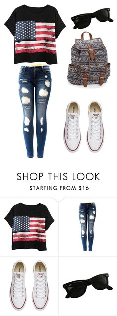 """How to wear converse"" by sw94561 ❤ liked on Polyvore featuring Chicnova Fashion, Converse, Ray-Ban and Aéropostale"