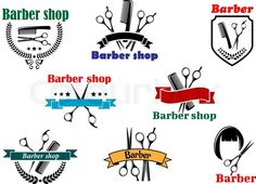 Barber shop logo, emblems and labels for signboard design stock vector