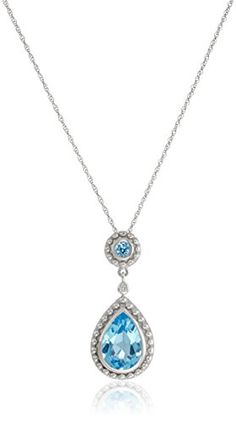"14k White Gold Swiss Blue Topaz and Diamond Drop Pendant Necklace, 18"" -- To view further for this item, visit the image link. http://www.amazon.com/gp/product/B00191YACI/?tag=jewelry3638-20&pef=300916134947"