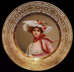 Wagner , Royal Vienna Porcelain (Austria) — Portrait Plate 'Queen of Roses' (650×641)