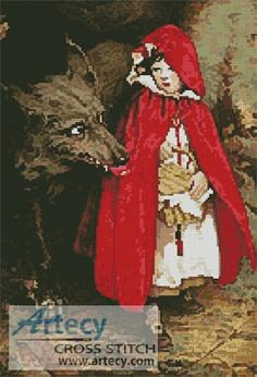 Red Riding Hood and Wolf Cross Stitch Pattern http://www.artecyshop.com/index.php?main_page=product_info&cPath=19_21&products_id=357