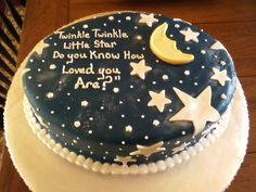 Moon & Stars baby shower cake. Like the little rhyme on this cake