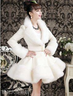 Large man-made doll pink white skirt Rex hair fox fur coat set $198.68