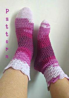 Crochet PATTERN Socks. Womens Pair in self striping cotton.
