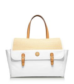 Straw and canvas beach tote from Tory Burch