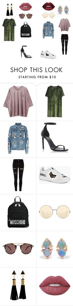 """1/4/17"" by izzyjphillips on Polyvore featuring Frame, Yves Saint Laurent, River Island, Boohoo, Moschino, Victoria Beckham, Oliver Peoples, WWAKE and Lime Crime"
