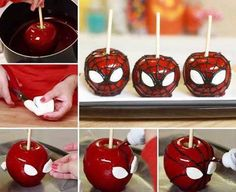 These are so cool!   SPIDERMAN CANDY / TOFFEE APPLE INGREDIENTS:  -1/2 tsp red food coloring dye  -3/4 cup water -2 cups granulated sugar  -3 granny smith apples -1/2 cup light corn syrup mix together in sauce pan put on stove on medium heat bring to boil stir then let boil until candy thermometer reaches 350 degrees. take off burner let sit until all bubbles have popped. Dip apples in Candy until all sides are covered use Marshmallows for eyes (cut into shape) and black icing for ...