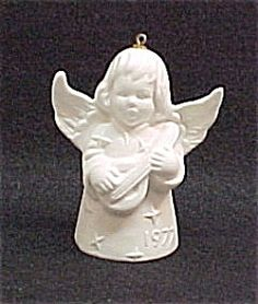 """1977 Goebel Angel Bell Christmas Tree Ornament. White bisque, 3"""" tall. Made in West Germany."""