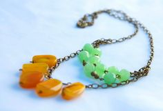Jade and Mustard Necklace on Antique Gold Chain. $50.00, via Etsy.