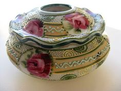 Antique Nippon Ornate Moriage Hair Receiver with Roses Beautiful | eBay