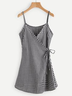Black and White Checkered Spaghetti Strap Self Tie Wrap Cami Dress Summer Outfits, Cute Outfits, Summer Dresses, Trendy Outfits, Look Fashion, Fashion Outfits, Fashion Design, Dress Fashion, Trendy Fashion