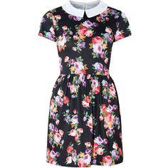 Innocence Black Floral Print Collar Skater Dress (20 BAM) ❤ liked on Polyvore featuring dresses, vestidos, abiti, floral print dress, flower print dress, short-sleeve dresses, floral print skater dress and floral collar dress