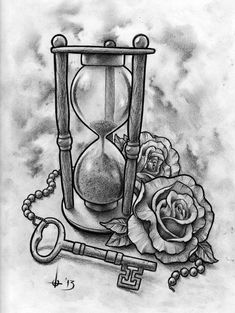 Sandtimer and Key Tattoo Design by t-o-n-e