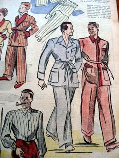 handsome 40s men's sleepwear (plus cute mini-smoking jacket for boys)