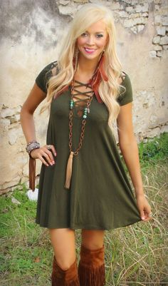 Olive Shift Dress - The Lace Cactus • apply code erin10 for 10% off