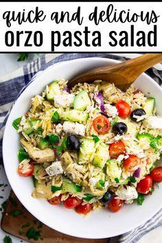 Orzo Salad, Vegan Lunch Recipes, Lemon Herb, Vegan Pasta, Pasta Salad Recipes, Vegetarian, Dinner, Healthy, Ethnic Recipes