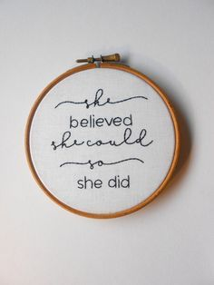 Hand stitch embroidery hoop Inspirational feminist wall art Unique gift for her by RedWorkStitches on Etsy