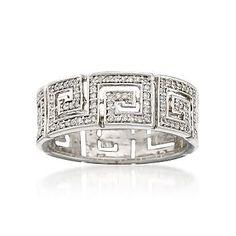 Ross+Simons .25 ct. t.w. Diamond Greek Key Ring in Sterling Silver