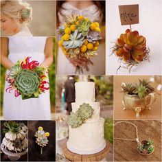 Succulent Bouquet & Wedding Theme - Be inspired by our collection of ideas of ways in which to incorporate succulents as part of your wedding day! #succulents #wedding #theme