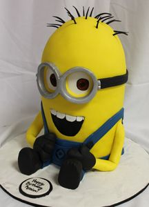 Despicable Me Sculpted Minion Cake, via Flickr.