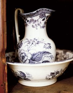 Beautiful botanical transfer printed pitcher and wash basin...probably circa 1830-40