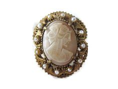 Florenza Cameo Pendant Brooch Estate Jewelry #Florenza