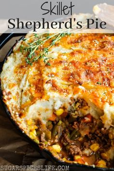 This Skillet Shepherd's Pie has deliciously seasoned beef and vegetables topped with creamy mashed potatoes and baked in a cast iron skillet. Cast Iron Skillet Cooking, Iron Skillet Recipes, Cast Iron Recipes, Cooking With Cast Iron, Skillet Food, Seafood Recipes, Beef Recipes, Cooking Recipes, Uk Recipes