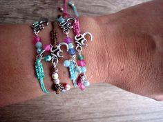 Pulseras de macramé  con símbolo del OM y ágatas de colores //  macrame bracelets with OM symbol and colorful agates