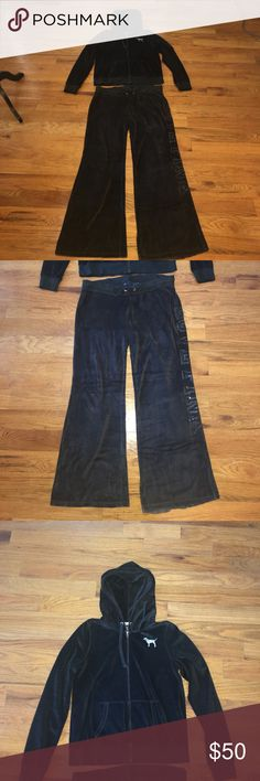 Black Velour Victoria's Secret Track Suit Sz Large Black Velour Victoria's Secret Track Suit Sz Both Jacket and Pants Size Large. Pants are wide leg style, both have signs of wear but no holes. The pink puppy is starting to crack a bit but this suit still has a lot of life left in it. The pants length are 30 inches long but because the pants are slouchy they feel longer like 31-32. Smoke free home. PINK Victoria's Secret Tops Sweatshirts & Hoodies
