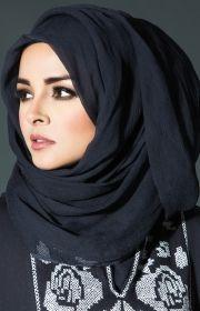 Navy Chiffon Silk Hijab