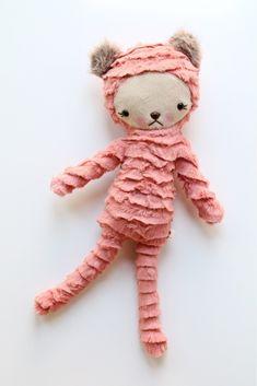 Coral ribbon minky bear. bijoukitty