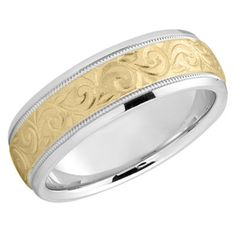ApplesofGold.com - Etched Paisley Wedding Band in 14K Two Tone Gold Jewelry $775.00