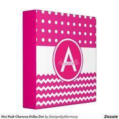 Hot Pink Chevron Polka Dot Binder