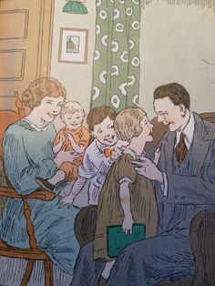 1928 Vintage  Childrens Illustrated Retro Colorful Family Life Story Book. $5.00, via Etsy.