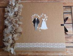 Large 12x12 Shabby Chic/Vintage Wedding Photo Album/Scrapbook/Guestbook  | eBay Wedding Photo Albums, Wedding Album, Wedding Guest Book, Photo Album Scrapbooking, Scrapbook Albums, Vintage Wedding Photos, Burlap, Hessian, Personalized Wedding Gifts