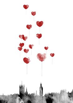 Red Heart Balloons Over London Skyline with Big Ben, Art Print