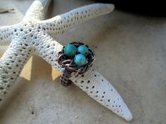 Birds nest ring in copper with african by EdisLittleTreasures, $28.00