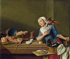 Kitchen Still Life with Parrot and female figure by Peter Jakob Horemans from 1760 - Mnichov 18th Century Dress, 18th Century Costume, 18th Century Clothing, 18th Century Fashion, 19th Century, Dutch Artists, Historical Clothing, Portrait Art, Beautiful Paintings