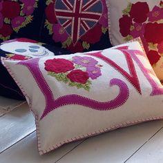 Love applique pillow