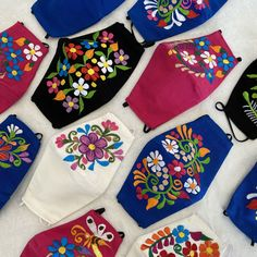 Flower Embroidery Designs, Floral Embroidery, Flower Designs, Embroidery Patterns, Hand Embroidery, Simple Embroidery, Hand Applique, Machine Embroidery, Easy Face Masks