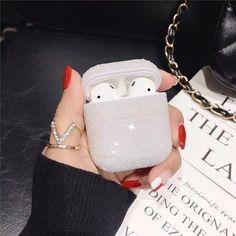 NEW Airpods  Luxury Bling diamonds hard case - White