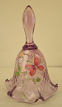 Fenton Art Glass - 6-1/2'' Diamond Optic Bell in Pink